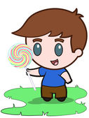 Boy and Lollypop — Stock Vector