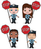 Police Kids with Stop Signs — Stock Vector