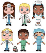 Doctors and Nurses set 1 — 图库矢量图片