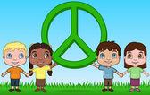 Kinderen houden een vredesteken — Stockvector