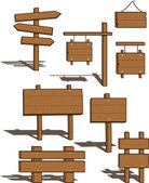Wooden Signs - vector illustration — Stock Vector