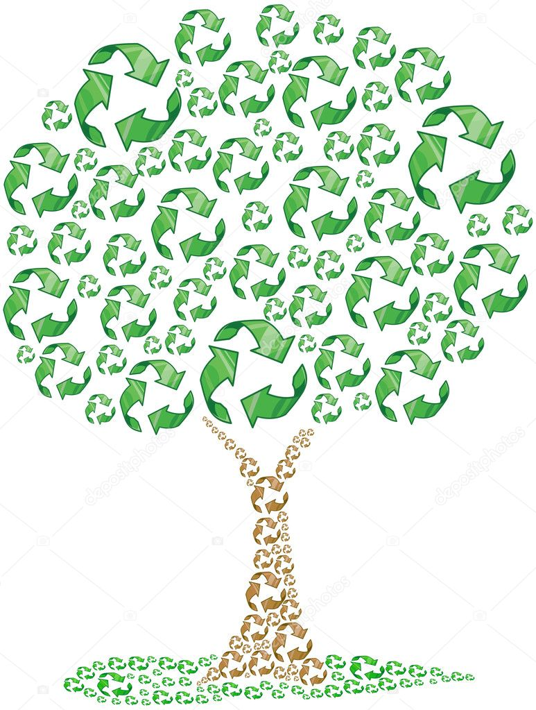 Recycle Symbol With Tree Recycling tree - stock