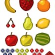 Pixel Fruit - vector illustration set — Stockvektor #11704095