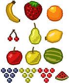Pixel Fruit - vector illustration set — Stock Vector