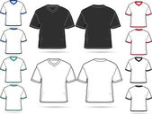 Set of V-neck T-shirts - vector illustration set — Stock Vector
