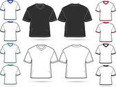 Set of V-neck T-shirts - vector illustration set — Stock Vector