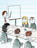 Stick Figure Business Meeting — Stock Vector