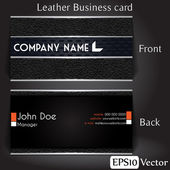 Business card in leather texture — Stock Vector
