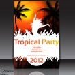 Royalty-Free Stock Vector Image: Tropical Disco Dance Background with and sunset