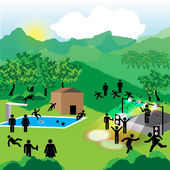 Summer camp for young with stage and pool — Stock Vector