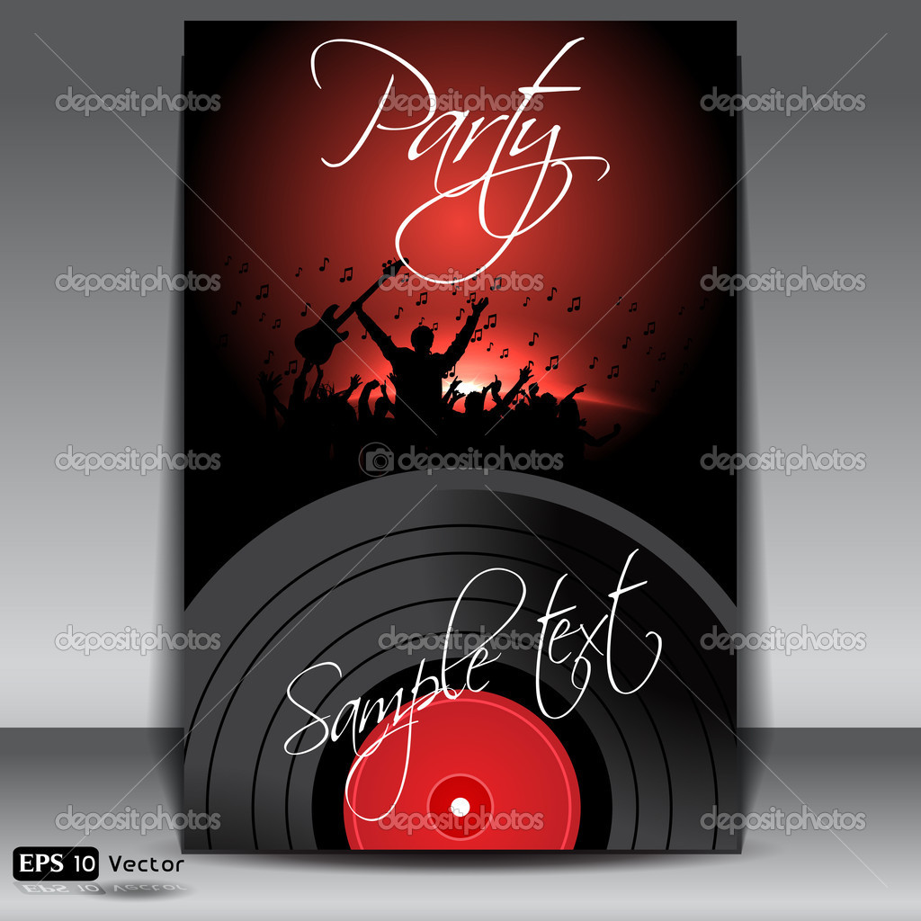 Vinyl record on colorful background, with young vector illustration. — Stock Vector #11955184
