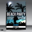 Stock Vector: Night Summer Beach Party Flyer with Dancing Young