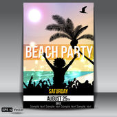Summer Beach Party Flyer with Dancing Young — Stock Vector
