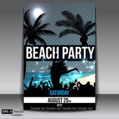 Night Summer Beach Party Flyer with Dancing Young — Stock Vector