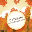 Vector abstract background with round card and autumn leaves — Stock Vector