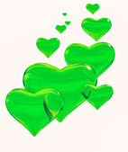 Glossy green hearts. — Stock Photo