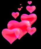 Glossy red hearts. — Stock Photo