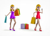 Dolls shopping — Stock Photo
