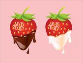 Strawberry - Cream and Chocolate — Stock Vector