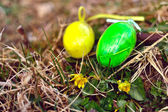 Green decorative eggs — Stock Photo