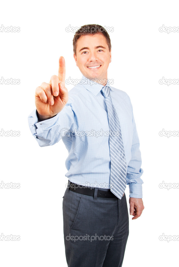 Happy business man with number one hand gesture on isolated background  Stock Photo #11933249