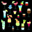 Exotic cocktails collection in neon colors, vector — ストックベクタ