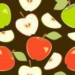 Red and green apples seamless pattern, vector — Stock Vector
