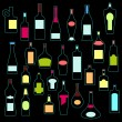 Stock Vector: Alcohol bottles collection in neon colors. Vector