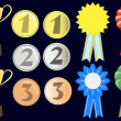 Vector set of awards, ribbons, medals — Stock Vector #11660421