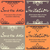 "Vector set of wedding invitation and ""save the date"" cards — Stock Vector"