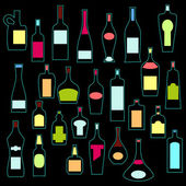 Alcohol bottles collection in neon colors. Vector — Stock Vector