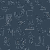 Shoes seamless pattern on navy blue, vector — Stock Vector