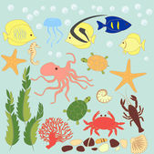 Vector set of sea animals — Stock Vector