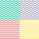 Simple retro zigzag seamless pattern, in four colors, vector — Stock Vector