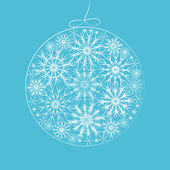 Christmas ball in snowflake pattern card, vector — Stock Vector