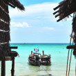 Stock Photo: Huts and fisherboats