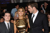 Josh Hutcherson, Jennifer Lawrence, Liam Hemsworth — Stock Photo