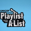 """UNICEF Playlist with the A-List"" Logo — Stock Photo"