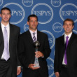 Ali Farokhmanesh, Ben Johnson and Adam Koch of the Northern Iowa men's basketball team - 图库照片