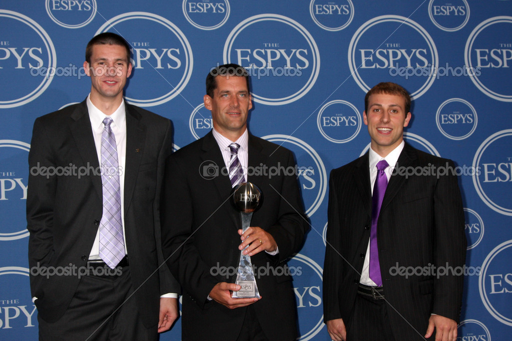 LOS ANGELES - JUL 14:  Ali Farokhmanesh, Ben Johnson and Adam Koch of the Northern Iowa men's basketball team in the Press Room of the 2010 ESPY Awards at Nokia Theater - LA Live on July14, 2010 in Los Angeles, CA — Stock Photo #12526395