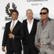 Sylvester Stallone, Bruce Willis and Mickey Rourke — Стоковая фотография