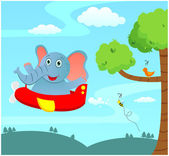 Elephant in a plane — Stock Vector