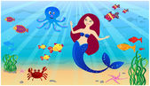 Mermaid and sea world — Stock Vector