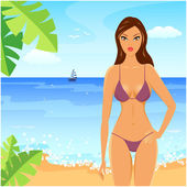 Girl in bikini on a beach — Stock Vector