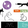 Stock Vector: Set of abstract foxes transporting different qualities - clever, fast, elegant, considerate and playful