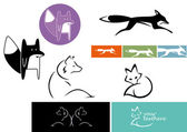 Set of abstract foxes transporting different qualities - clever, fast, elegant, considerate and playful — Stock vektor