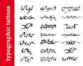 Typographic calligraphic ornamental tattoos / tribals — Stock Vector