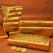 Stock Photo: 999 gold bars 3D