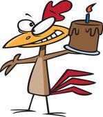 Happy chicken holding a birthday cake — Stock Vector