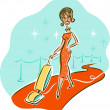 Illustration of a woman vacuuming on the red carpet — Stock Photo